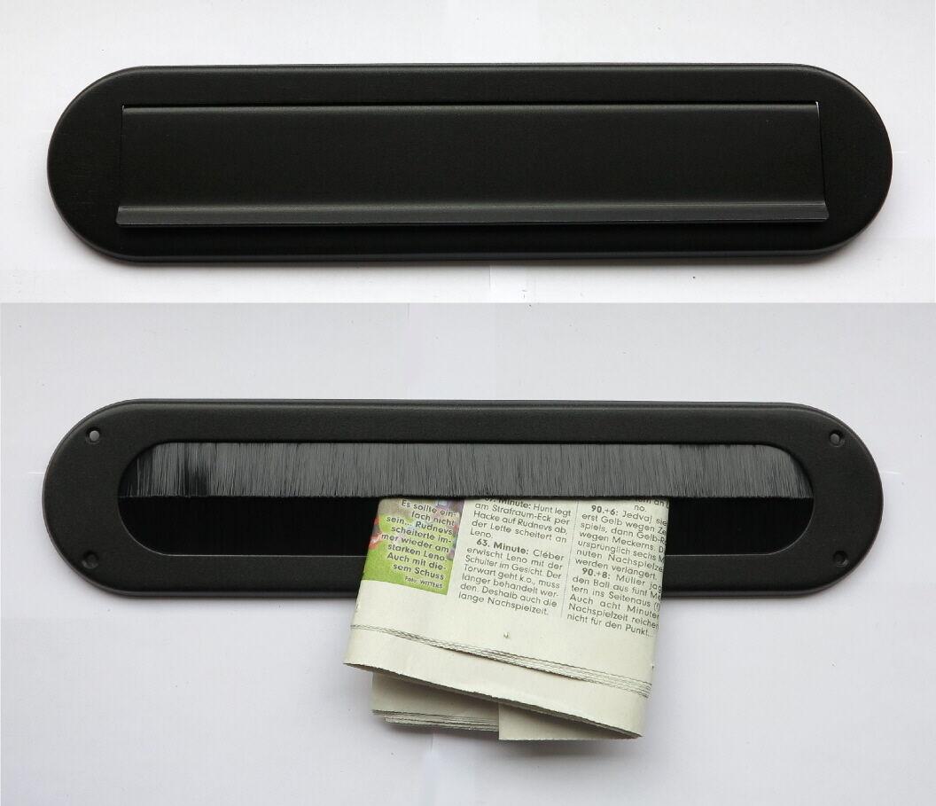 Edelstahl-Briefeinwurf +Innenkappe-m.Bürste-340 x 80 mm-Briefschlitz-Briefklappe