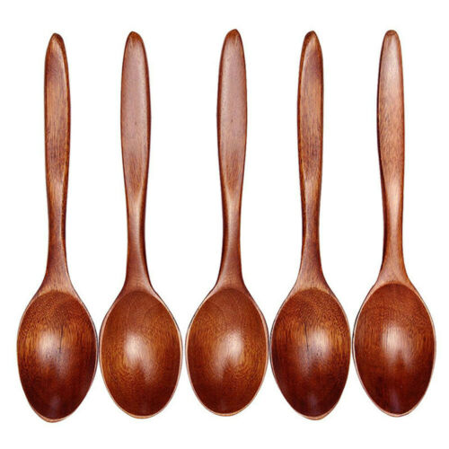 1//5PCS Wooden Spoon Bamboo Kitchen Cooking Utensil Soup Tool Teaspoon Catering