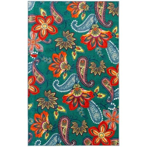 2 x 8 Modern Paisley Large Area Rug  Dining Living Bed Room Turquoise Red Green