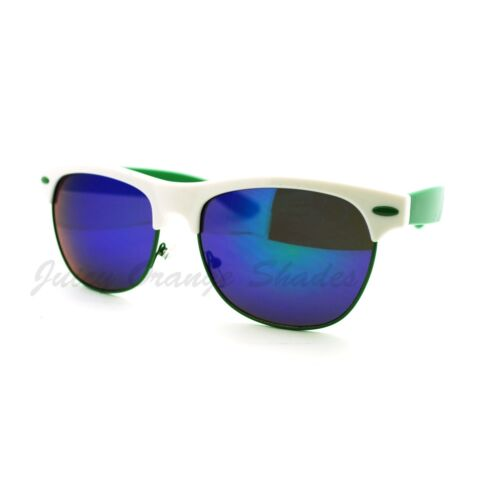 Half Horn Rim Top Sunglasses Colorful 2-tone Frame Mirror Lens