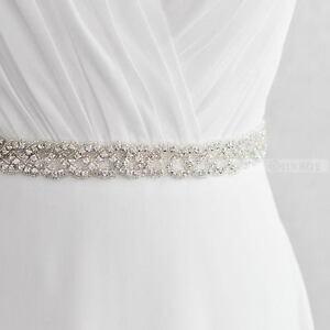 Vintage Bridal Handmade Ribbon Pearl Rhinestone Crystal Wedding