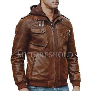 Da Uomo Biker Vintage con Effetto Invecchiato Marrone Cafe Racer Leather Jacket