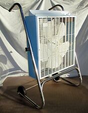 """Vintage Box Fan Berns Air King Rolling Pivot Stand 3 Speed w Thermostat 22.25"""""""