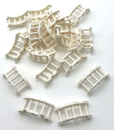 Lego 25 New White Fence 4 x 4 x 2 Quarter Round Spindled with 3 Studs