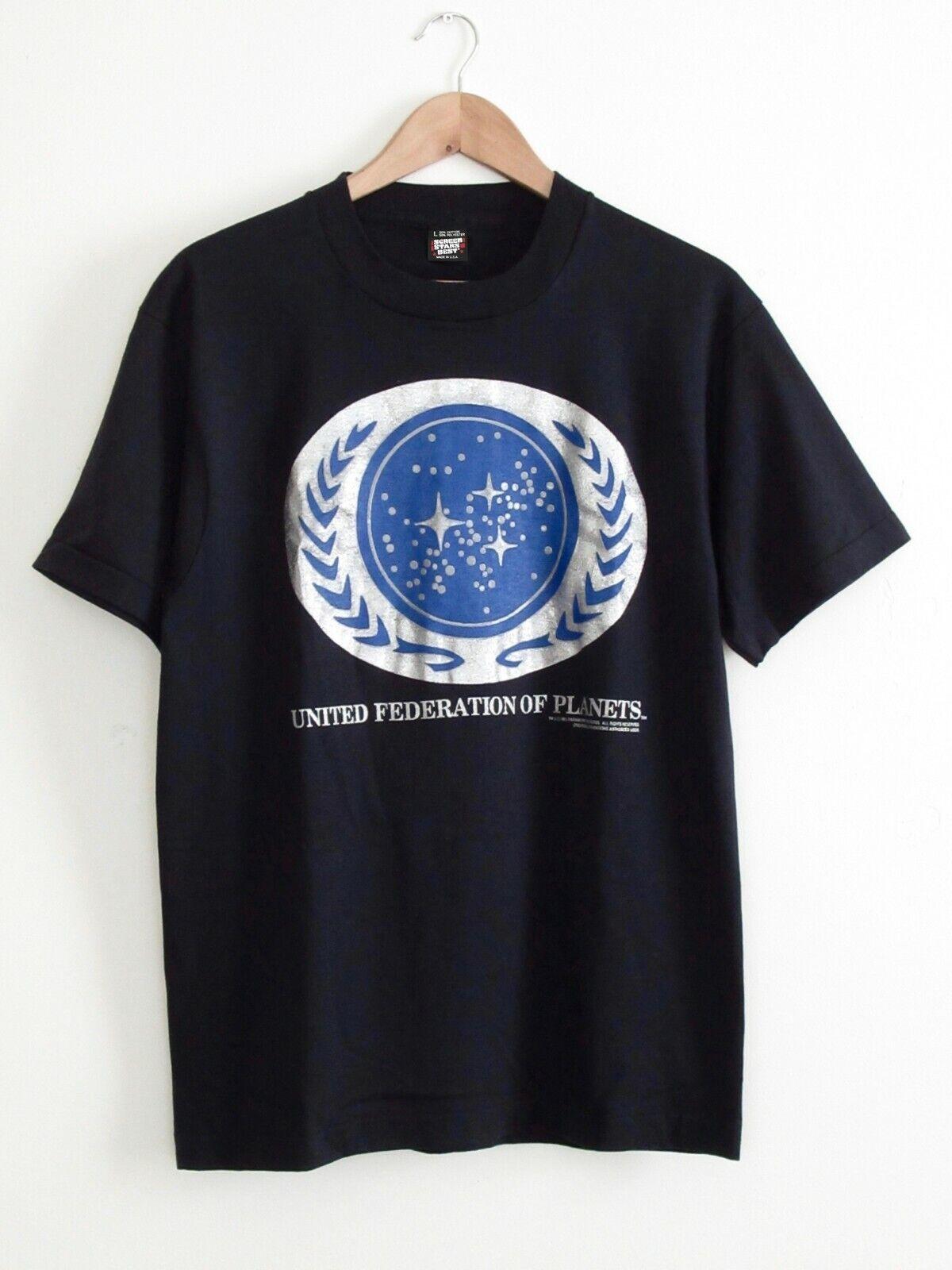 Rare Vtg Screen Stars Mens Star Trek United Federation Of Planets T-Shirt L USA