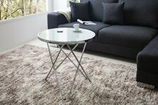 Couchtisch Beistelltisch Tisch Designer Modern RUND SILBER 55cm Milchglasplatte