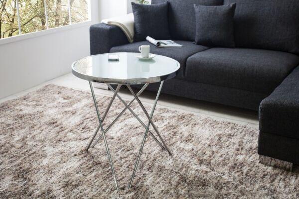 Tavolino Da Salotto Tavolo Designer Moderno Tondo Argento 55cm Milchglasplatte Con Le Attrezzature E Le Tecniche Più Aggiornate