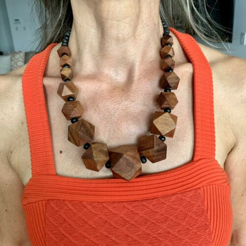 🤎 Anthropologie Geometric Wooden Necklace