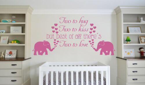 TWINS QUOTE HEARTS CUTE WALL ART DECAL VINYL STICKER ELEPHANTS NURSERY LOVE