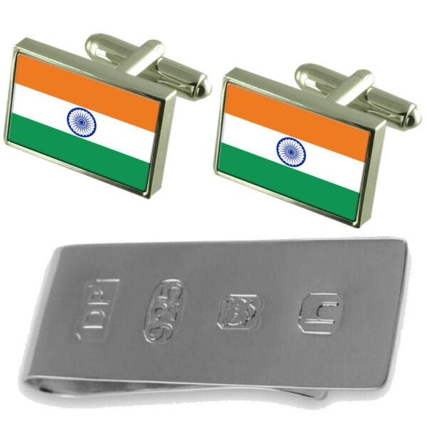 100% QualitäT Indien Flagge Manschettenknöpfe & James Bond Geldklammer äRger LöSchen Und Durst LöSchen