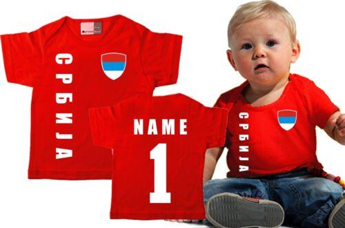 NAME Serbien Kinder BABY Gr 56//62-68//74-80//86  T-Shirt Trikot NR rot