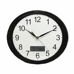 Oval Black White Wall Clock With Led Digital Day Date