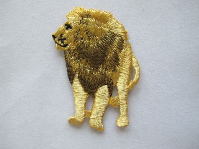 Buy golden black animal lion embroidery iron on applique