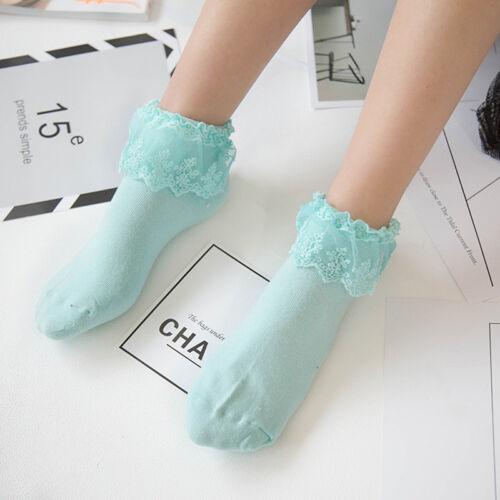 Sweet Retro Woman Girl Lolita Ruffle Cotton Casual Lace Princess Socks Meias Sox