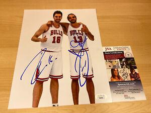 Joakim Noah & Pau Gasol Chicago Bulls Autographed Signed 8X10 Photo JSA COA