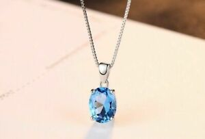 Kette-Anhaenger-925-Sterling-Silber-Blau-Topas-2-3-ct-VVS-Rhodiniert-Halskette