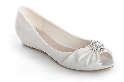 Off White Diamante Brooch Peeptoe Wedge Low Heels Wedding Pumps Bridal Shoes