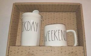Rae Dunn Weekend Weekday Mug And Travel Tumbler Set Large Letter