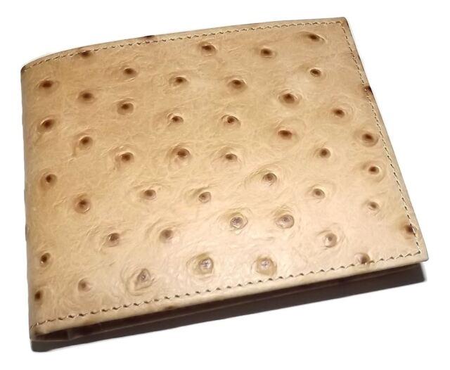 dcea9f8622 Scully UOMO Struzzo Decorato Piegabile di Cuoio 8 Tasca Portafoglio Marrone