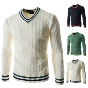 Fashion-Men-s-Warm-Winter-Long-Sleeve-V-neck-Knitted-Sweater-Tops-Pullover-YJ1