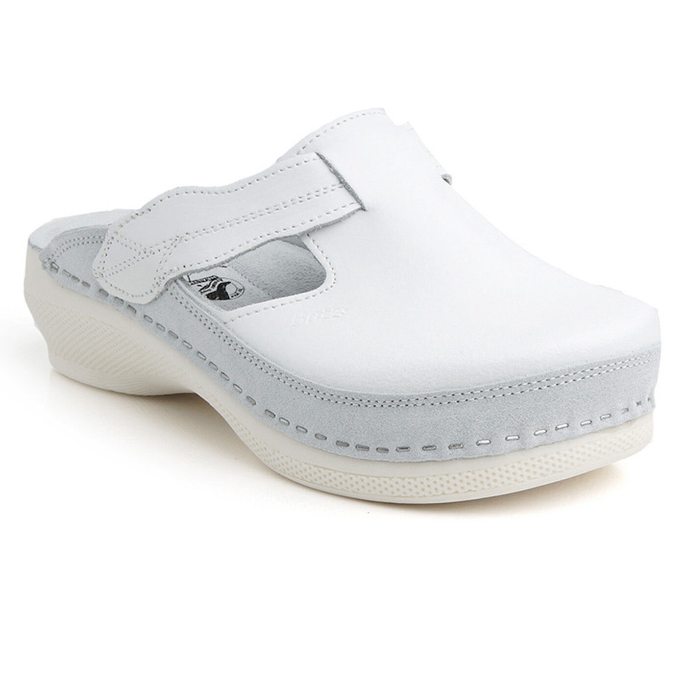 Batz FLOWER White Handmade Top Quality Leather Clogs Women