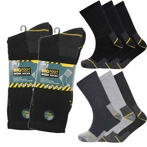 outlet store 65cc8 ff777 Details about SOXY® 6 /12 pair Mens Heavy Duty BIG FOOT Work Boot Socks  Black Grey Navy 11-13