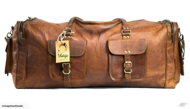 Men/'s genuine Leather luggage gym weekend overnight duffle bag large holdall 24/""