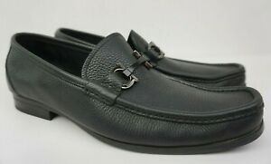 Salvatore-Ferragamo-Grandioso-Bit-Men-039-s-Black-Leather-Loafers-Shoes-Size-10-5-D