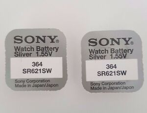 SONY-364-SR621SW-BATTERY-BATTERIES-SILVER-OXIDE-WATCH-COIN-CELL-X-2