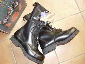 Anfibi-13-fori-fibbie-Red-Black-punta-acciaio-rock-punk-biker-nero-steel-toe