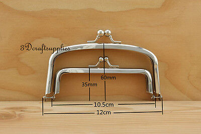metal purse frame glue on clasp clip silver 3 inch x 1 3//4 inch A36