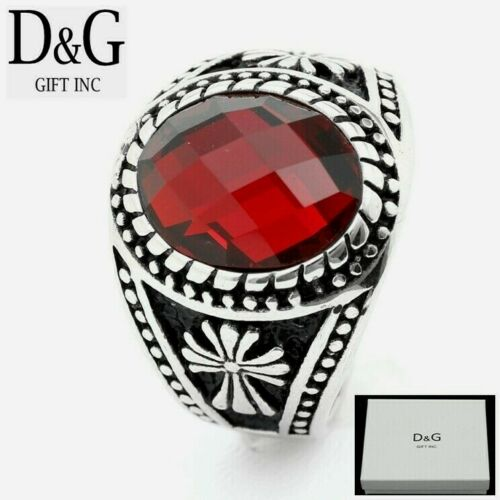 DG Men/'s Silver Stainless Steel Oval Red CZ.CROSS Ring #8 9,10,11,12 13,BOX