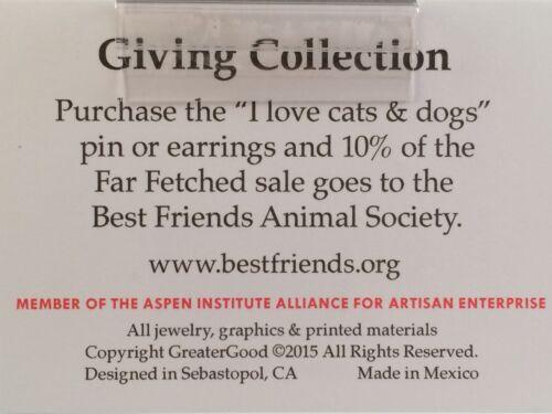 Far Fetched Cat /& Dog Face Heart Shaped Yin Yang Dangle Earrings Copper Silver