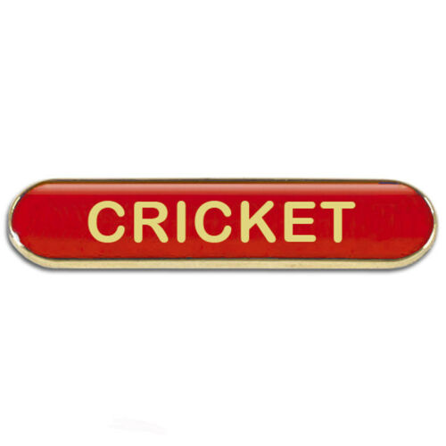 School Cricket Badge Available 4 Colours with pin bar clasp