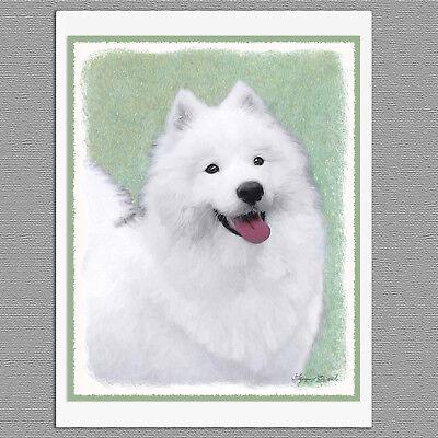6 Samoyed Dog Blank Art Note Greeting Cards