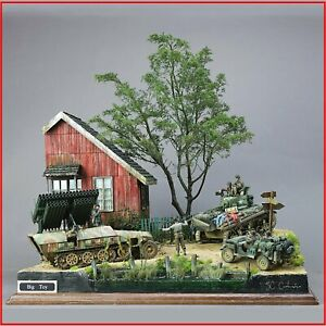 Military-German-Assembly-Model-Kit-House-Building-block-1-35-Scale-Ruined-Corner