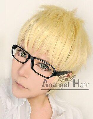 Haikyuu Tsukishima Kei cosplay wig Short Blonde Synthetic Hair Short+Glasses