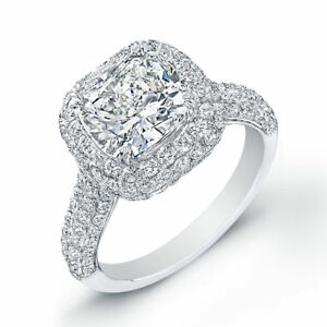 Image Is Loading 4 23 Ct Cushion Cut Diamond Engagement Ring