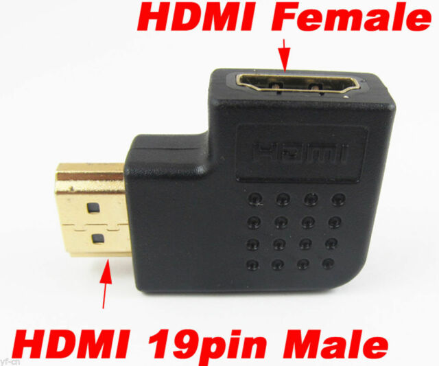 1pc 19pin HDMI Male to Female M//F Right Angle 90D Gold Plated Adapter Converter