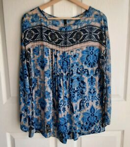 Plenty-By-Tracy-Reese-Womens-Sheer-Blue-Beige-Pleat-Blouse-Top-Shirt-Size-Small