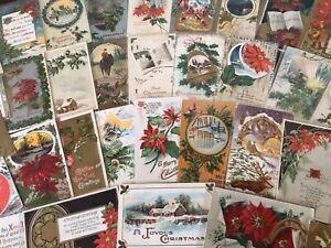 Nice-Big-Lot-of-50-Vintage-Antique-Christmas-Greetings-Postcards-in-Sleeves-s200