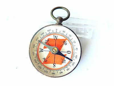 Vintage BRASS POCKET COMPASS Small Magnetic Compass, pre-1950