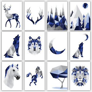 Art-PRINT-GEOMETRIC-ANIMAL-FOREST-collection-NAVY-BLUE-amp-GREY-Poster-3-for-2