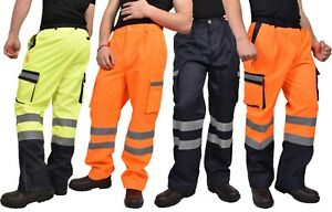 Hombres-Hi-Vis-Viz-Visibilidad-De-Seguridad-Reflectante-Cargo-Pantalones-de-trabajo-autopista