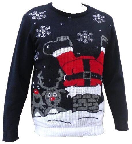 HOMMES FEMMES NOËL DRÔLE Pull grossier Bonhomme de neige Renne Santa
