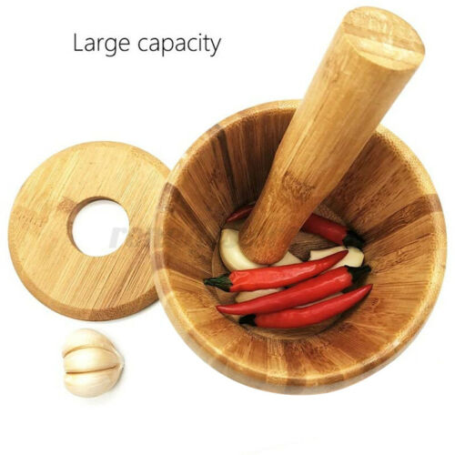 Bamboo Pestle and Mortar Set Herb Spice Garlic Grinder Crusher Spices Grinding