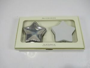 Pottery-Barn-Star-Salt-And-Pepper-Set-White-Silver-New-In-Box-Shakers-B1