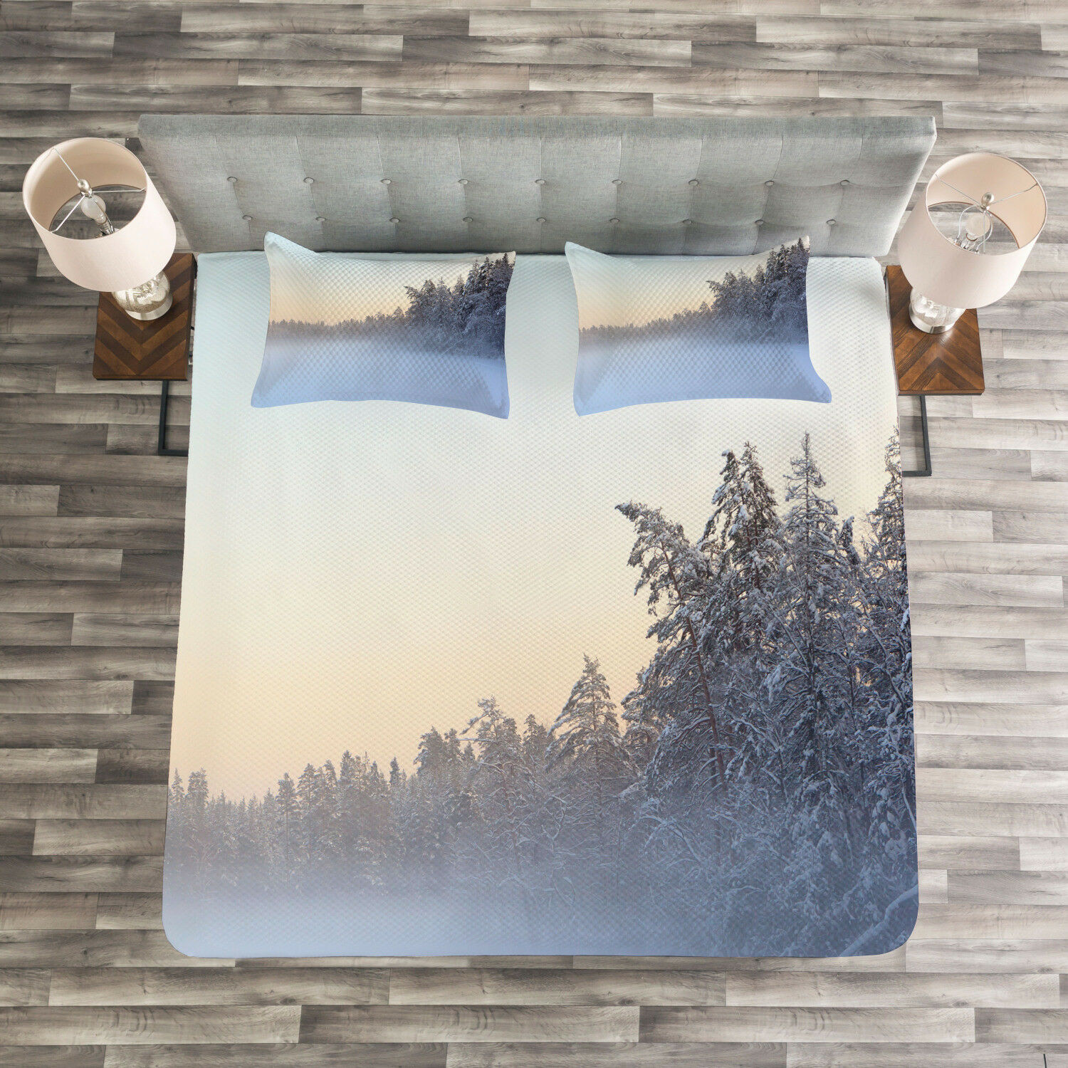 Winter Quilted Bedspread & Pillow Shams Set, Frozen Lake in Woods Print