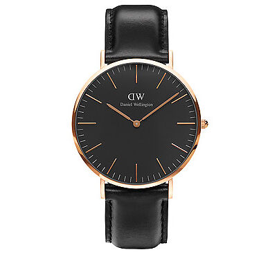NEW Daniel Wellington DW00100127 Classic Sheffield Sheffield Rose Watch Black