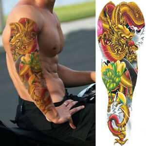 e3faeed15 Image is loading Golden-Dragon-Pink-Flower-Temporary-Tattoo-Sleeves-Adults-